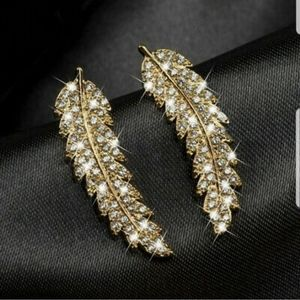 Swarovski Element 18k Gold Plated Feather Earrings